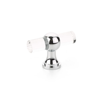 """Schaub and Company, Lumiere Transitional, 2"""" Adjustable Pull Knob, Clear Acrylic and Polished Chrome"""