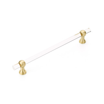 """Schaub and Company, Lumiere Transitional, 12"""" (305mm) Adjustable Bar Appliance Pull, Clear Acrylic and Satin Brass"""
