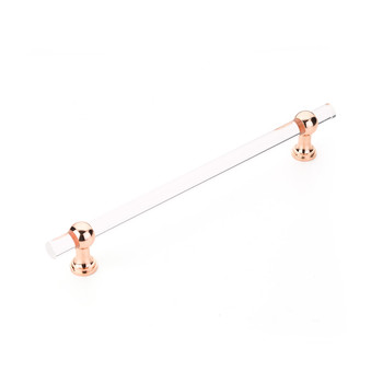 """Schaub and Company, Lumiere Transitional, 12"""" (305mm) Adjustable Bar Appliance Pull, Clear Acrylic and Polished Rose Gold"""