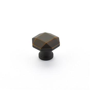 "Schaub and Company, Menlo Park, 1 1/4"" Faceted Round Knob, Ancient Bronze"