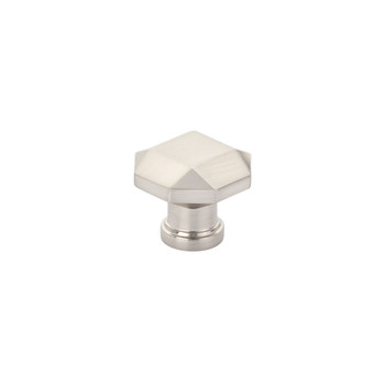 """Schaub and Company, Menlo Park, 1 1/4"""" Faceted Round Knob, Brushed Nickel"""