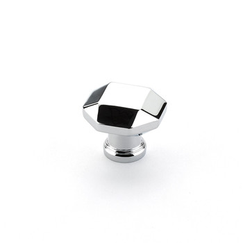 """Schaub and Company, Menlo Park, 1 1/4"""" Faceted Round Knob, Polished Chrome"""