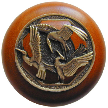 "Notting Hill, Crane Dance, 1 1/2"" Round Wood Knob, in Antique Brass with Cherry wood finish"