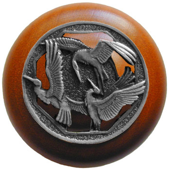 "Notting Hill, Woodland, Crane Dance, 1 1/2"" Round Wood Knob, Antique Pewter with Cherry Wood Finish"