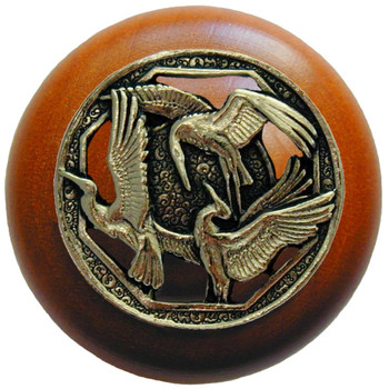 "Notting Hill, Crane Dance, 1 1/2"" Round Wood Knob, in Brite Brass with Cherry wood finish"