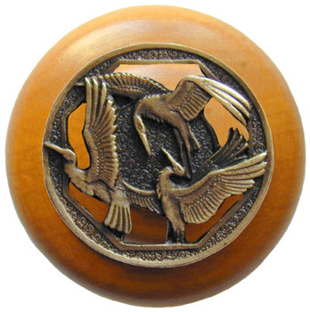 "Notting Hill, Crane Dance, 1 1/2"" Round Wood Knob, in Antique Brass with Maple wood finish"