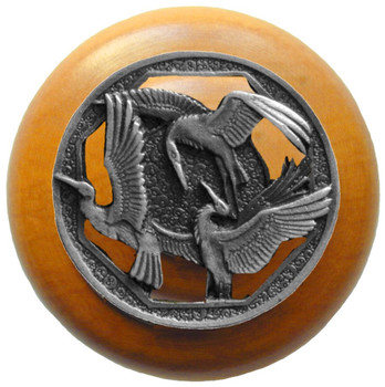 "Notting Hill, Crane Dance, 1 1/2"" Round Wood Knob, in Antique Pewter with Maple wood finish"
