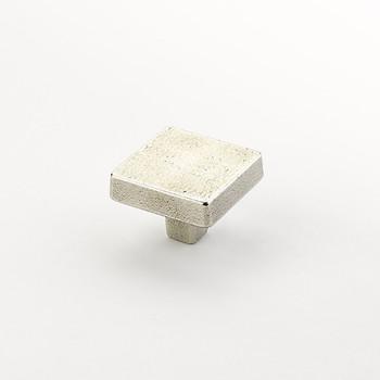 "Schaub and Company, Vinci, 1 3/4"" Square Knob, Polished White Bronze"