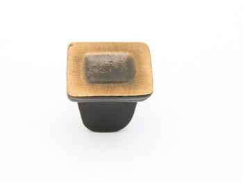 "Schaub and Company, Vinci, 1 1/4"" Indent Square Knob, Ancient Bronze"
