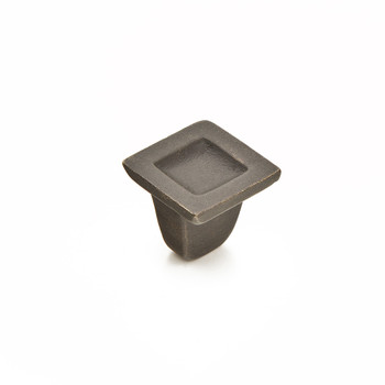 "Schaub and Company, Vinci, 1 1/4"" Indent Square Knob, Black Bronze"