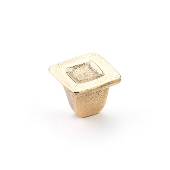 "Schaub and Company, Vinci, 1 1/4"" Indent Square Knob, Natural Bronze"