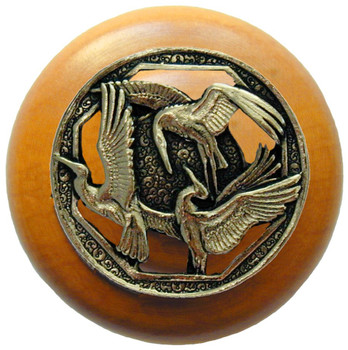 "Notting Hill, Crane Dance, 1 1/2"" Round Wood Knob, in Brite Brass with Maple wood finish"