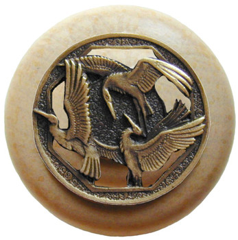 "Notting Hill, Woodland, Crane Dance, 1 1/2"" Round Wood Knob, Antique Brass with Natural Wood Finish"