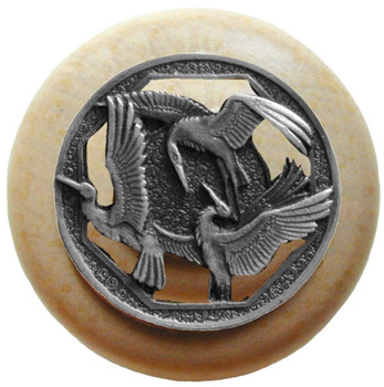 "Notting Hill, Crane Dance, 1 1/2"" Round Wood Knob, in Antique Pewter with Natural wood finish"