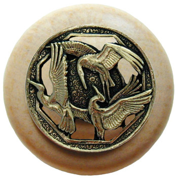 "Notting Hill, Crane Dance, 1 1/2"" Round Wood Knob, in Brite Brass with Natural wood finish"
