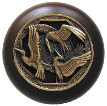 "Notting Hill, Woodland, Crane Dance, 1 1/2"" Round Wood Knob, Antique Brass with Dark Walnut Wood Finish"