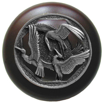 "Notting Hill, Woodland, Crane Dance, 1 1/2"" Round Wood Knob, Antique Pewter with Dark Walnut Wood Finish"