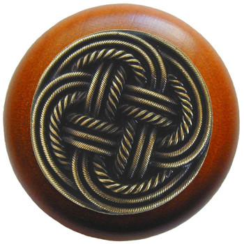 """Notting Hill, Beach and Pastimes, Classic Weave, 1 1/2"""" Round Wood Knob, Antique Brass with Cherry Wood Finish"""