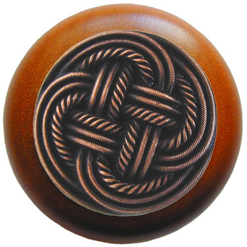 """Notting Hill, Beach and Pastimes, Classic Weave, 1 1/2"""" Round Wood Knob, Antique Copper with Cherry Wood Finish"""