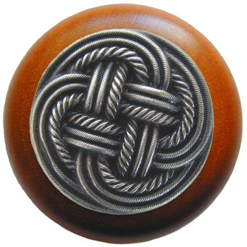 """Notting Hill, Beach and Pastimes, Classic Weave, 1 1/2"""" Round Wood Knob, Antique Pewter with Cherry Wood Finish"""