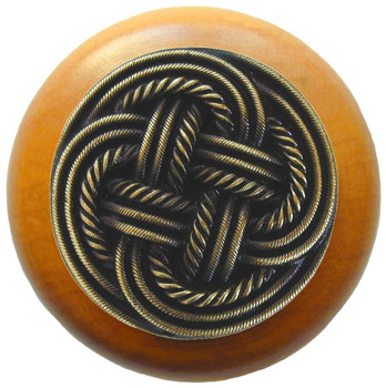 "Notting Hill, Classic Weave, 1 1/2"" Round Wood Knob, in Antique Brass with Maple Wood Finish"