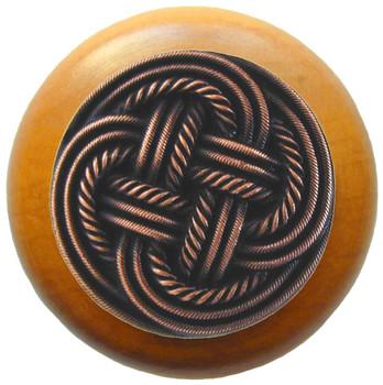 "Notting Hill, Classic Weave, 1 1/2"" Round Wood Knob, in Antique Copper with Maple wood finish"