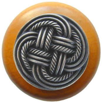 """Notting Hill, Beach and Pastimes, Classic Weave, 1 1/2"""" Round Wood Knob, Antique Pewter with Maple Wood Finish"""