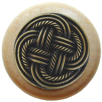 "Notting Hill, Classic Weave, 1 1/2"" Round Wood Knob, in Antique Brass with Natural wood finish"