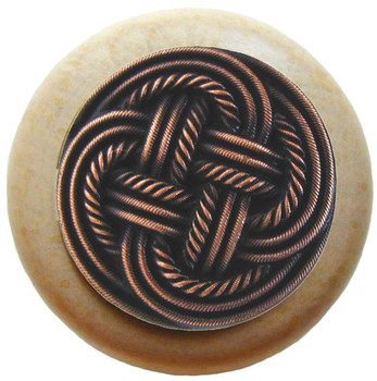"Notting Hill, Beach and Pastimes, Classic Weave, 1 1/2"" Round Wood Knob, Antique Copper with Natural Wood Finish"