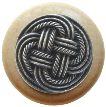 "Notting Hill, Beach and Pastimes, Classic Weave, 1 1/2"" Round Wood Knob, Antique Pewter with Natural Wood Finish"