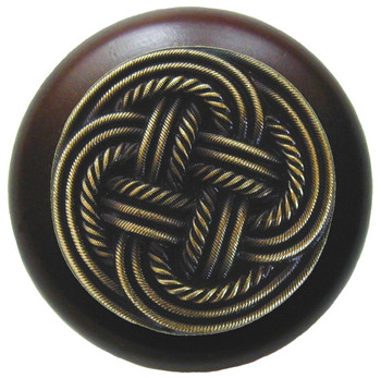 """Notting Hill, Beach and Pastimes, Classic Weave, 1 1/2"""" Round Wood Knob, Antique Brass with Dark Walnut Wood Finish"""
