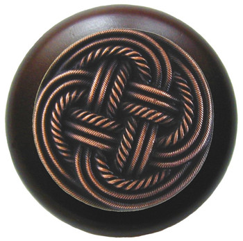 "Notting Hill, Classic Weave, 1 1/2"" Round Wood Knob, in Antique Copper with Dark Walnut Wood Finish"