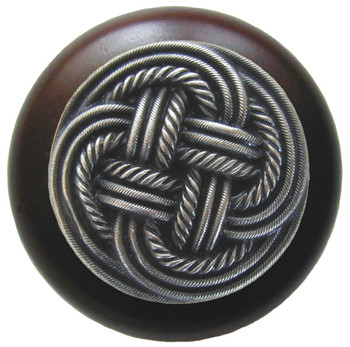 "Notting Hill, Classic Weave, 1 1/2"" Round Wood Knob, in Antique Pewter with Dark Walnut Wood Finish"