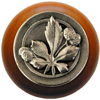 "Notting Hill, Horse Chestnut, 1 1/2"" Round Wood Knob, in Brilliant Pewter with Cherry Wood Finish"