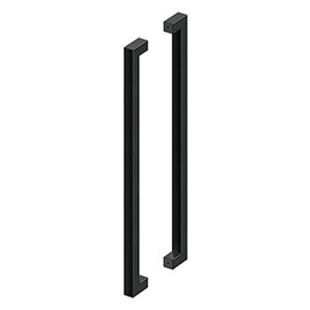 """Deltana, 36"""" Extra Large Contemporary Back-to-Back Pull, Paint Black"""