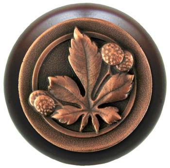 "Notting Hill, Horse Chestnut, 1 1/2"" Round Wood Knob, in Antique Copper with Dark Walnut wood finish"