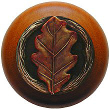 "Notting Hill, Oak Leaf, 1 1/2"" Round Wood Knob, in Hand Tinted Antique Brass with Cherry Wood Finish"