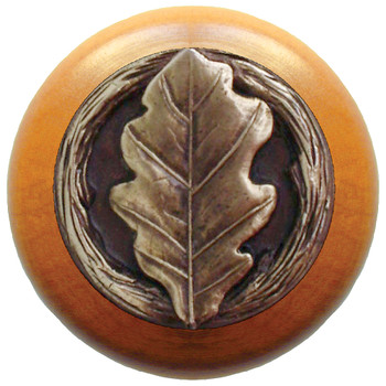 "Notting Hill, Oak Leaf, 1 1/2"" Round Wood Knob, in Antique Brass with Maple Wood Finish"