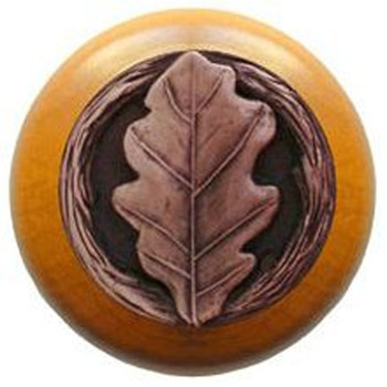 "Notting Hill, Oak Leaf, 1 1/2"" Round Wood Knob, in Antique Copper with Maple Wood Finish"