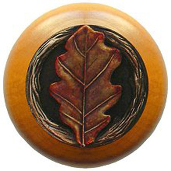 "Notting Hill, Oak Leaf, 1 1/2"" Round Wood Knob, in Hand Tinted Antique Brass with Maple Wood Finish"