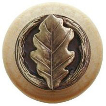 "Notting Hill, Oak Leaf, 1 1/2"" Round Wood Knob, in Antique Brass with Natural Wood Finish"