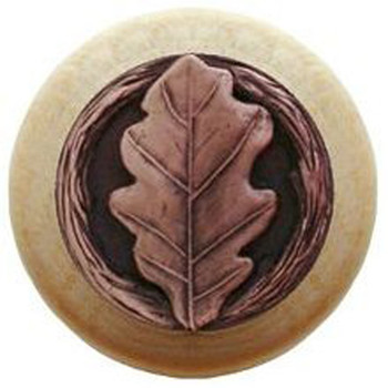 "Notting Hill, Oak Leaf, 1 1/2"" Round Wood Knob, in Antique Copper with Natural Wood Finish"