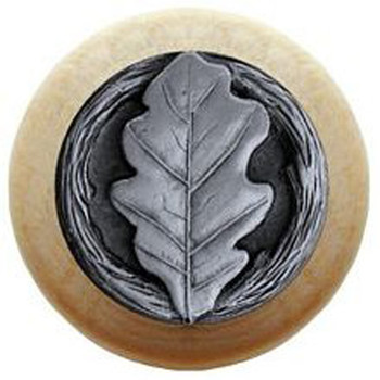 "Notting Hill, Oak Leaf, 1 1/2"" Round Wood Knob, in Antique Pewter with Natural Wood Finish"