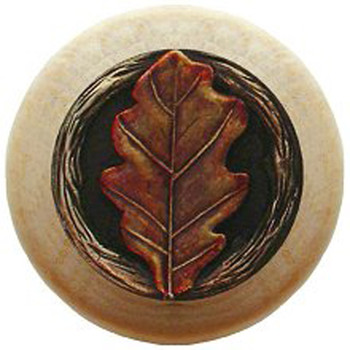 "Notting Hill, Oak Leaf, 1 1/2"" Round Wood Knob, in Hand Tinted Antique Brass with Natural Wood Finish"