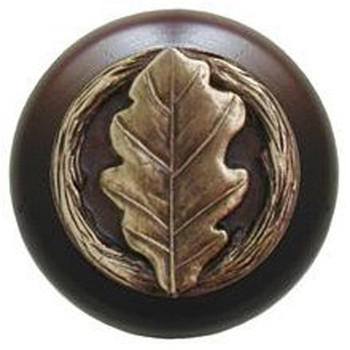 "Notting Hill, Oak Leaf, 1 1/2"" Round Wood Knob, in Antique Brass with Dark Walnut Wood Finish"
