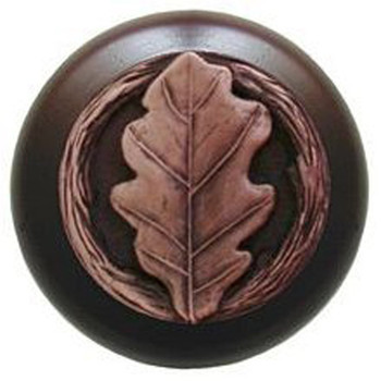 "Notting Hill, Oak Leaf, 1 1/2"" Round Wood Knob, in Antique Copper with Dark Walnut Wood Finish"