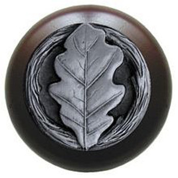 "Notting Hill, Oak Leaf, 1 1/2"" Round Wood Knob, in Antique Pewter with Dark Walnut Wood Finish"