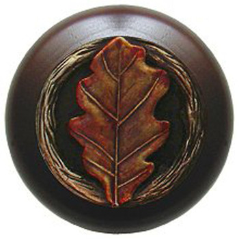 "Notting Hill, Oak Leaf, 1 1/2"" Round Wood Knob, in Hand Tinted Antique Brass with Dark Walnut Wood Finish"