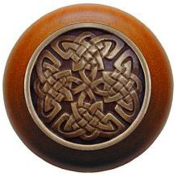 "Notting Hill, Celtic Isles, 1 1/2"" Round Wood Knob, in Antique Brass with Cherry wood finish"
