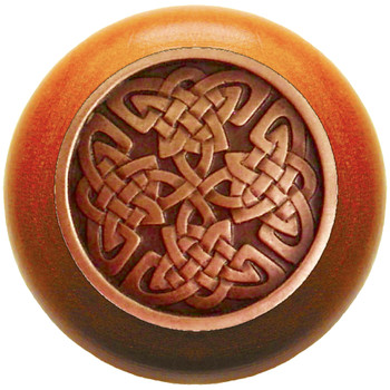 """Notting Hill, Arts and Crafts Celtic, Celtic Isles, 1 1/2"""" Round Wood Knob, Antique Copper with Cherry Wood Finish"""